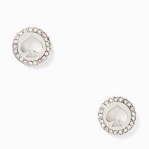 NWT~KATE SPADE~Clear/Silver Pave Halo Spade Studs